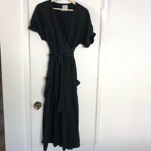 Urban Outfitters basic black wrap dress